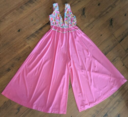 Vintage Beach Pajama Palazzo Jumpsuit Bright Pink