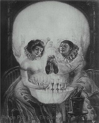 Skull Optical Illusion Art Print 8 x 10 - Goth Macabre Horror Metamporphic