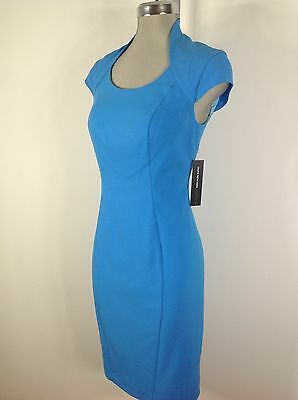 MARC NEW YORK by Andrew Marc NWT elegant Lake Blue Dress fancy neck line size 12