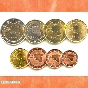Kursmuenzensatz-Estland-2011-1c-2-Euro-Muenze-KMS-alle-8-Muenzen-Satz-Eurosatz-Set