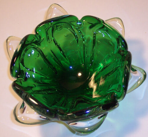 VINTAGE MURANO ITALIAN ART GLASS GREEN BUBBLES ASHTRAY BOWL 8""