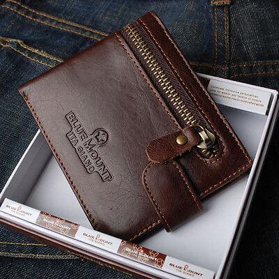 BlueMount Genuine Leather Men's Bifold Wallet Purse with Zipper Coin Slot MJ2632