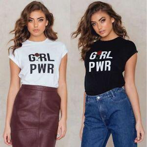 2a54bcebfe7 Summer Women White T Shirt Tops Girl Power Letter Print Short Black ...