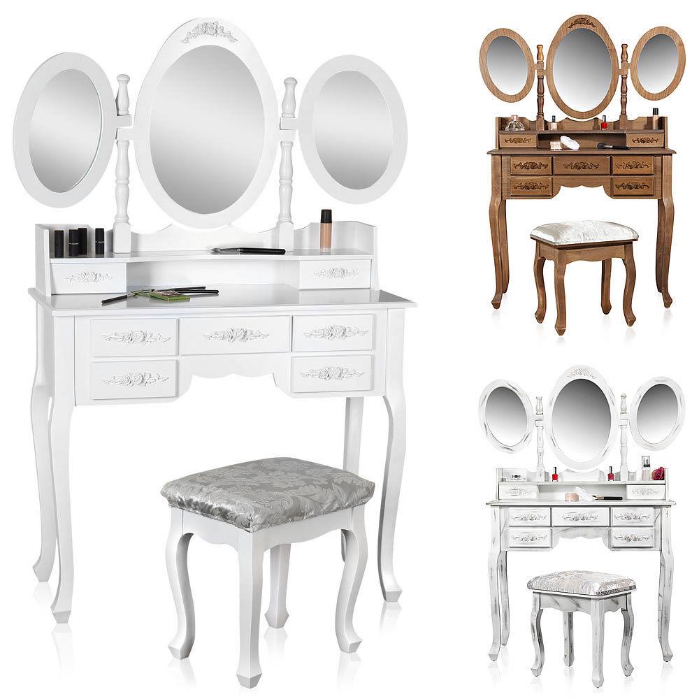 Coiffeuse 3 miroir Coussin tabouret table de maquillage table de coiffure table de cosmétiques