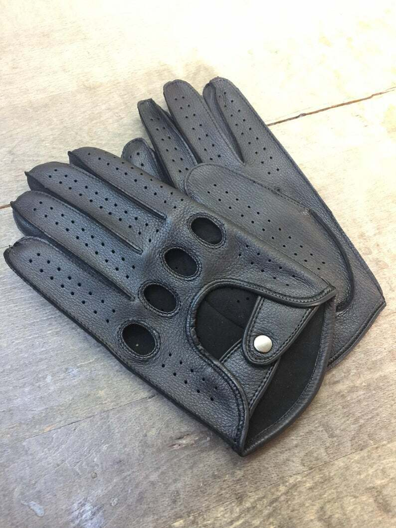 Handmade Men's Driving Deerskin Leather Black Gloves