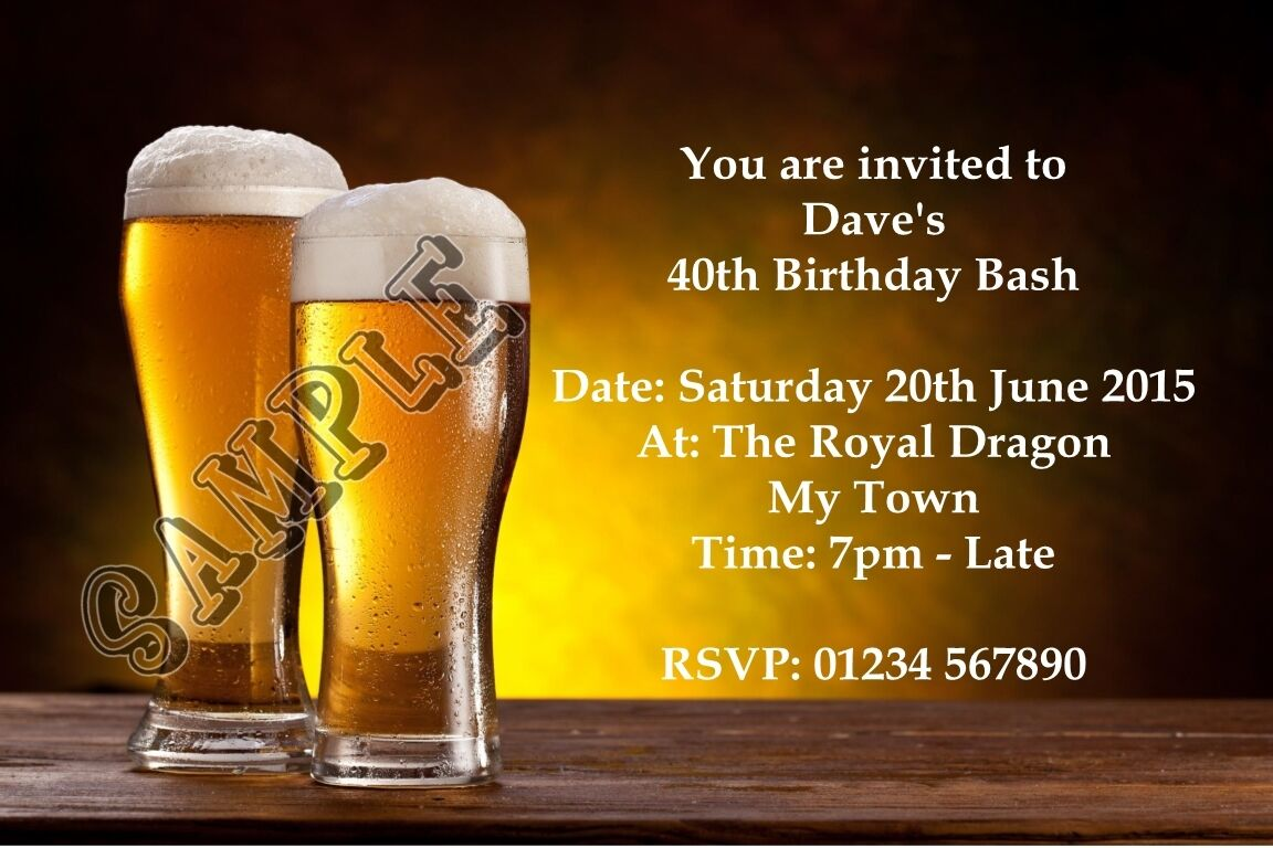 Personalised Birthday Party Invitations Pint of Beer 18th 21st 30th 40th 50th