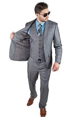 Slim Fit Suit 3 Piece Vested 2 Button Plaid Grey Fitted Notch Lapel By AZAR MAN