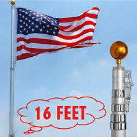 American Flag Pole Set Kit 16' 3x5' Us Flag Aluminium Garden Outdoor Telescoping