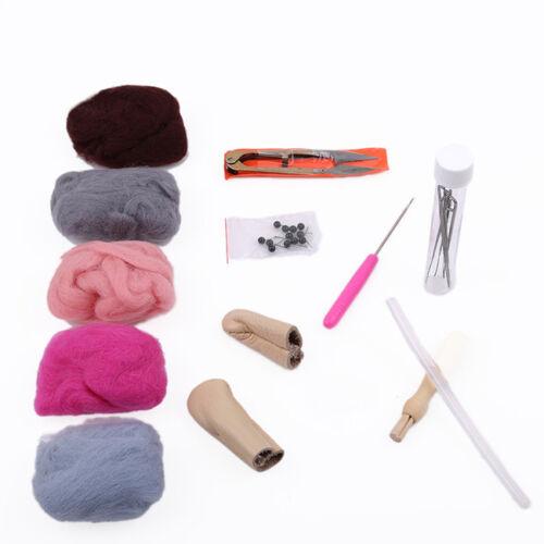 Needle Felting Starter Kit Set Wool Handle Needles Felt Mat Tool Z