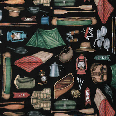 Camping Gear Items Tackle Box Canoe Pole Vest Hat More Black Cotton Fabric BTHY