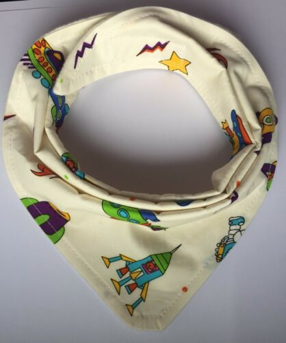 Bandanna Dribble Bib made with Rocket and Space material