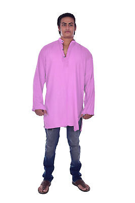 Lakkar Havali 100/% Cotton Indian Mens Kurta Shirt Tunic Loose Fit Plus Size Purple Color