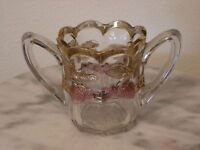 EAPG Indiana Glass Panelled Strawberry Double Handled Open Sugar Bowl