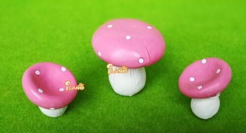 Dollhouse Miniature Pink Mushroom Table /& Chair Set Fairy Garden Resin HO040
