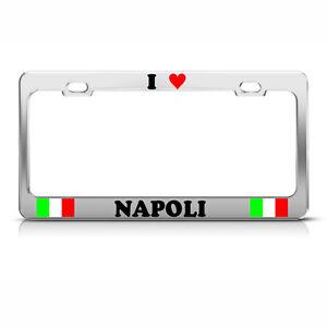 I Love Heart Napoli Italy Flag Chrome Heavy Duty Metal