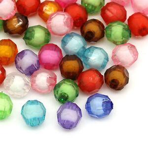300-Mix-Rund-Boehmen-Facettiert-Acryl-Spacer-Perlen-Beads-Bicone-8mm