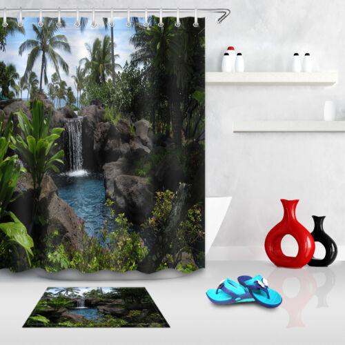 72x72/'/' Tropical Eau Salle de bains Tissu imperméable rideau de douche /& Tapis de bain 5802