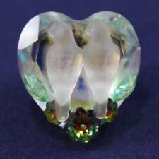 """Miniature Clear Crystal Glass Figurine, Doves Love Birds Pin 1"""""""