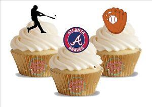 Image Is Loading 12 X Baseball Atlanta Braves Trio Mix Birthday