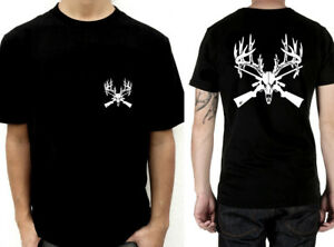 Deer-enorme-bois-crane-Crossed-Guns-a-manches-courtes-T-shirt-chasse-cornes-fusil