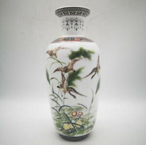10-8-034-Fine-Chinese-Famille-rose-Porcelain-Heron-Flowers-Birds-Pretty-Vase