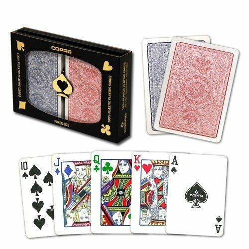 12 UNITS COPAG 100/% Plastic Playing Card Poker Size Regular Index Red//Blue Bulk