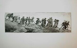James TISSOT (1836-1902) GRAVURE EAU FORTE DANSE MACABRE MORT CLAIR OBSCUR 1875