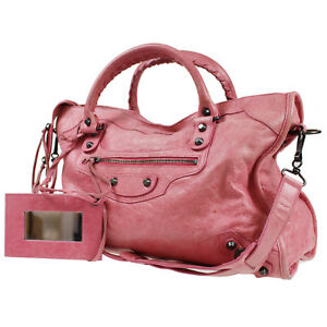 Cuir Authentiques Sac City L457 Vintage Balenciaga Bandoulière The Italie Rose x4F8nwWIBW