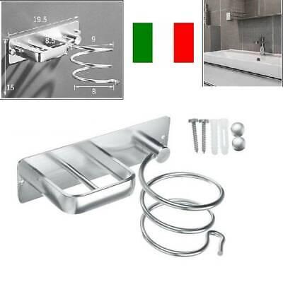 supporto porta phon asciugacapelli parete acciaio bagno accessori spirale a muro | eBay