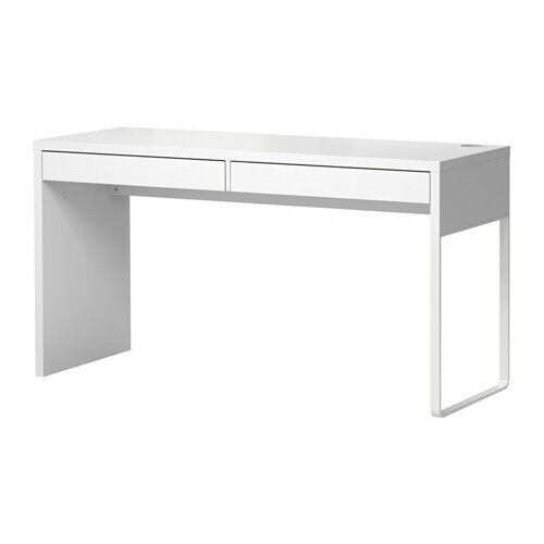 Ikea Micke Desk With 2 Drawers Computer Workstation Table White Modern Ebay