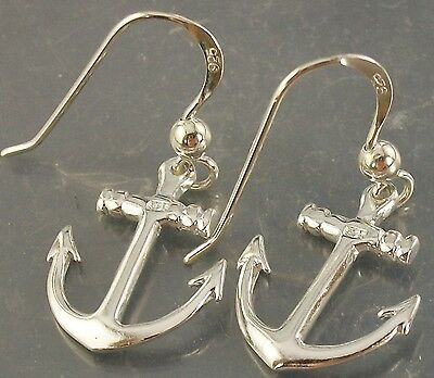 925 Sterling Silver Anchor Nautical Theme Hook Earrings 13mm x 17mm, 1.5mm thick