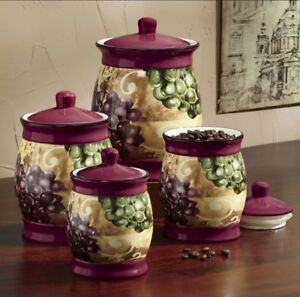Genial Image Is Loading Grape Vineyard Ceramic Kitchen Canister Set New