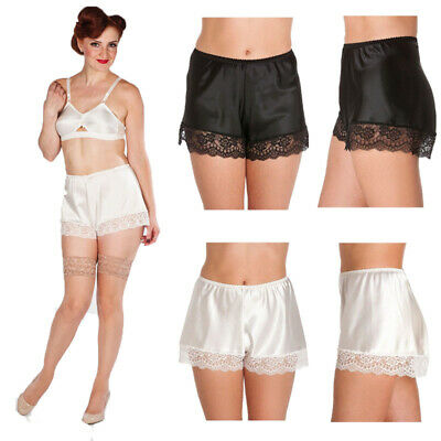 coupon code buy cheap latest trends of 2019 Womens Silk Satin French Knickers Ladies Lace Trim Elastic Waist Boxer  Shorts | eBay