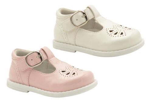 Little Girls Shoes Grosby Marion Pink or White Patent TBar Shoe Size 4-9 New