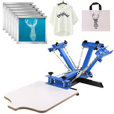 4 Color Screen Printing Machine 6pcs 160 Mesh Aluminum Silk Screens Equipment