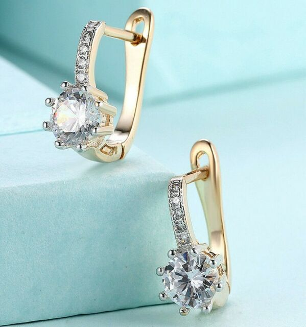 18K Gold Plated Leverback Cushion Halo Leverback Earrings with Swarovski Crystal