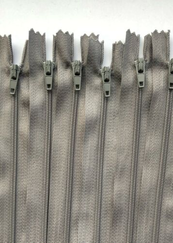 No.3 Mid Grey Nylon Closed End Auto Lock Zip 10cm-56cm 1//5//10//25//50//100