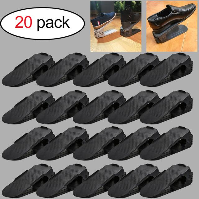 10X Schuhstapler Verstellbarer Kleiderschrank Schuhregal Grau Schuheorganizer