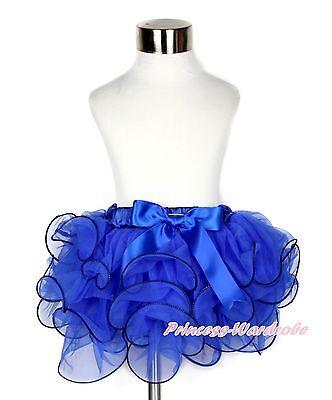 XMAS Girl Baby Royal Blue Petal Pettiskirt Blue Bow Skirt Dress Dance Tutu NB-8Y