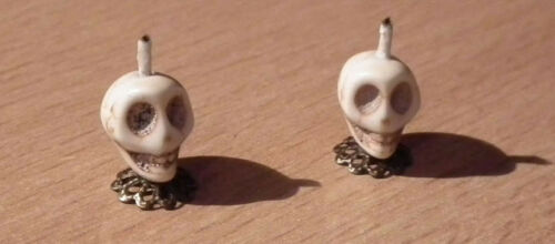 Casa de muñecas en miniatura Calavera Con Vela Palos Haloween Adorno Mesa Chimenea Lbv
