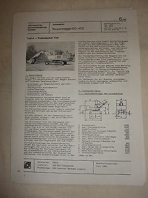 Gewidmet Ddr Werbung Reklame Prospekt Datenblatt Bagger Raupenbagger Eo-4121 Udssr 1982 Business & Industrie Literatur