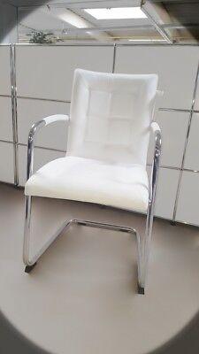 Sitzmöbel Mutig Topstar Chairman 450 Besucherstuhl Leder Weiß Freischwinger Konferenzstuh Bs0029