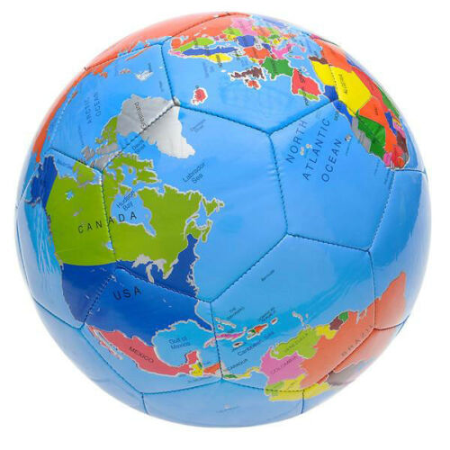 """9/"""" Globe Print Colorful Soccer Ball Sports Equipment Supplies Collectibles"""