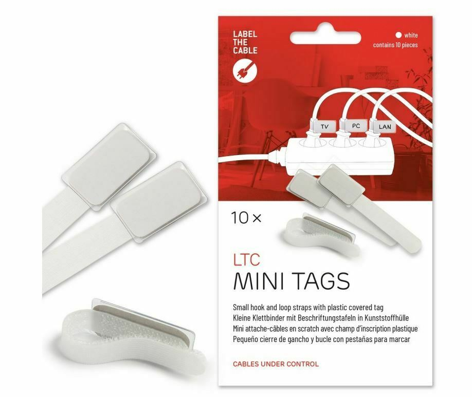 LTC Mini Cable Management Ties with Labels (white)