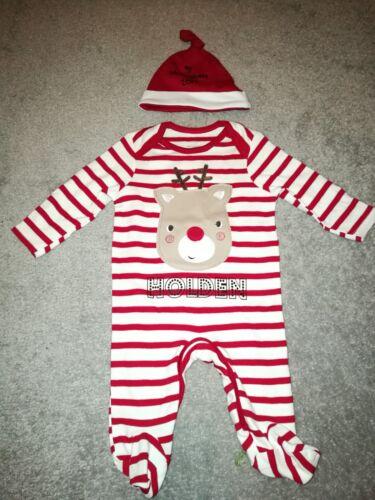 Personnalisé Nom Rudolph Renne Stripey Bébé Noël Sleepsuit BABYGRO Noël