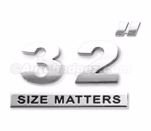 "NEW chrome 32/"" INCH SIZE MATTERS wheel rim size badges emblems DUB 32/"" SM 2"