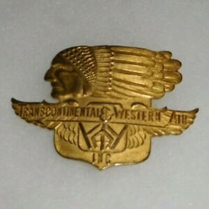 Rare-Transcontinental-amp-Western-Airlines-Pilot-Hat-Badge-Type-I-Large-Nose