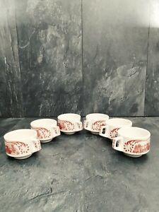"6 X Hermoso tazas de té W.h Grindley Staffordshire England ""Glebe Farm"""