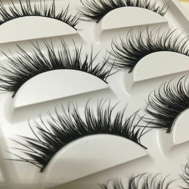 Cross Fake Long Best Quality Beauty False Eyelashes Handmade Makeup 5 Pairs