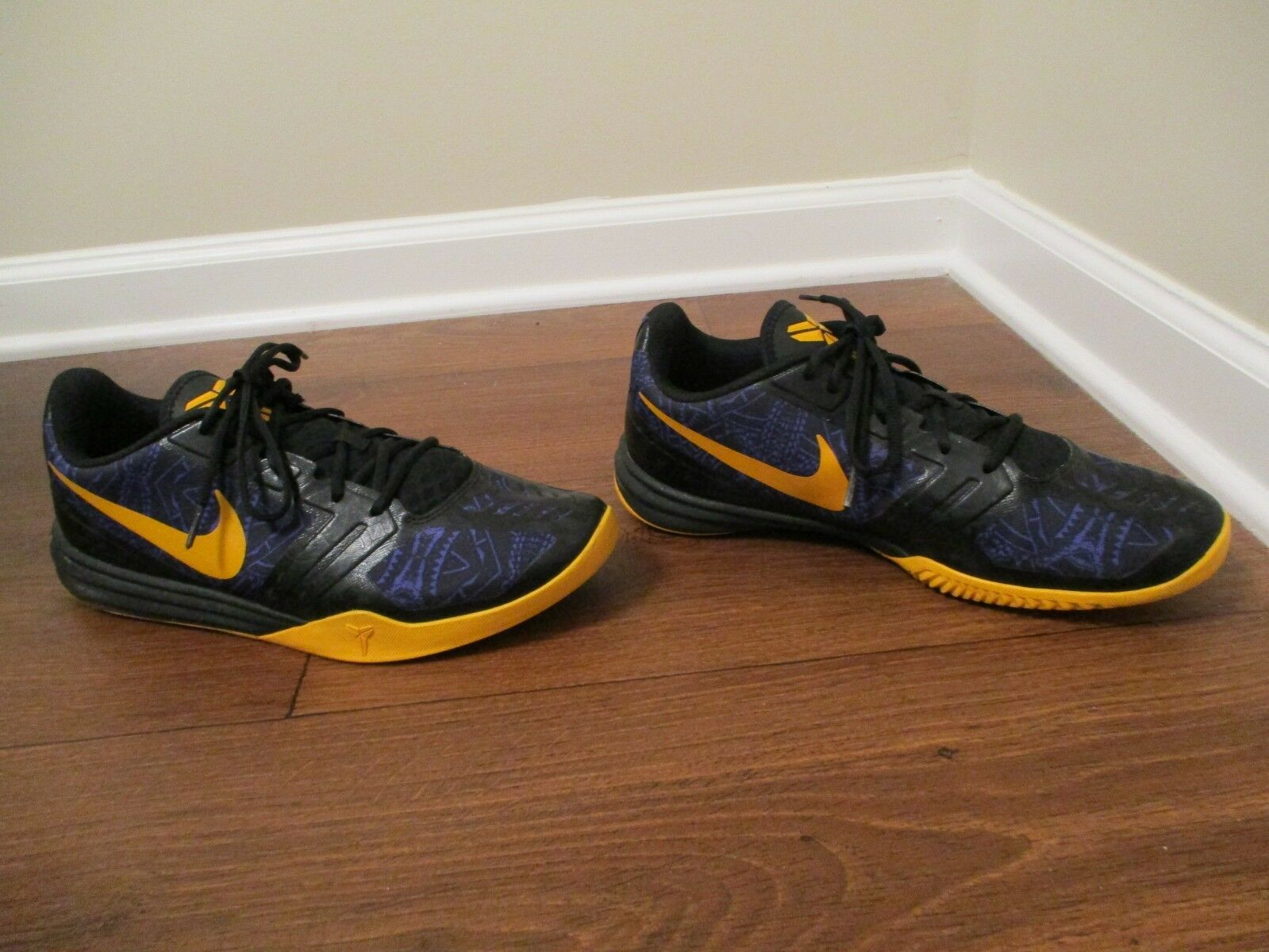 Used Worn Size 12 Nike KB Mentality shoes Persian purple, University gold, Black